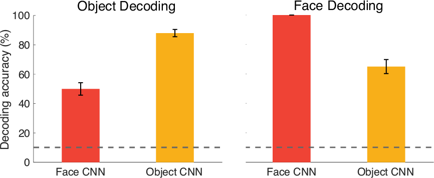 Computational reasons for specialization? CNNs trained on faces perform not as well on objects, and vice versa.